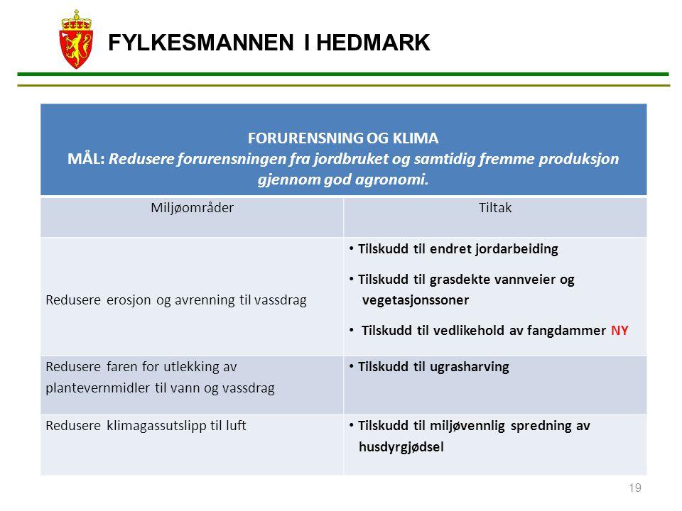 FORURENSNING OG KLIMA. MÅL: Redusere forurensningen fra jordbruket og samtidig fremme produksjon gjennom god agronomi.