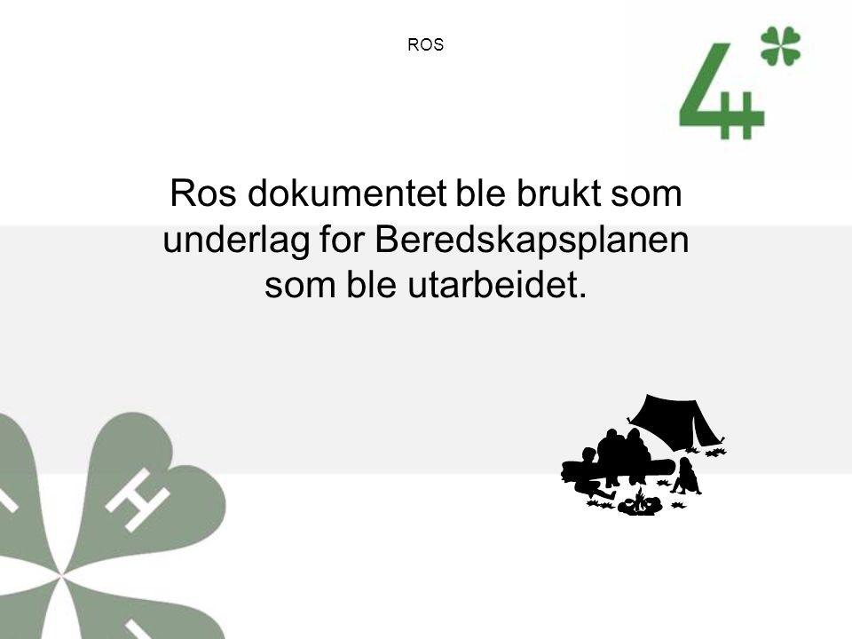 ROS Ros dokumentet ble brukt som underlag for Beredskapsplanen som ble utarbeidet.