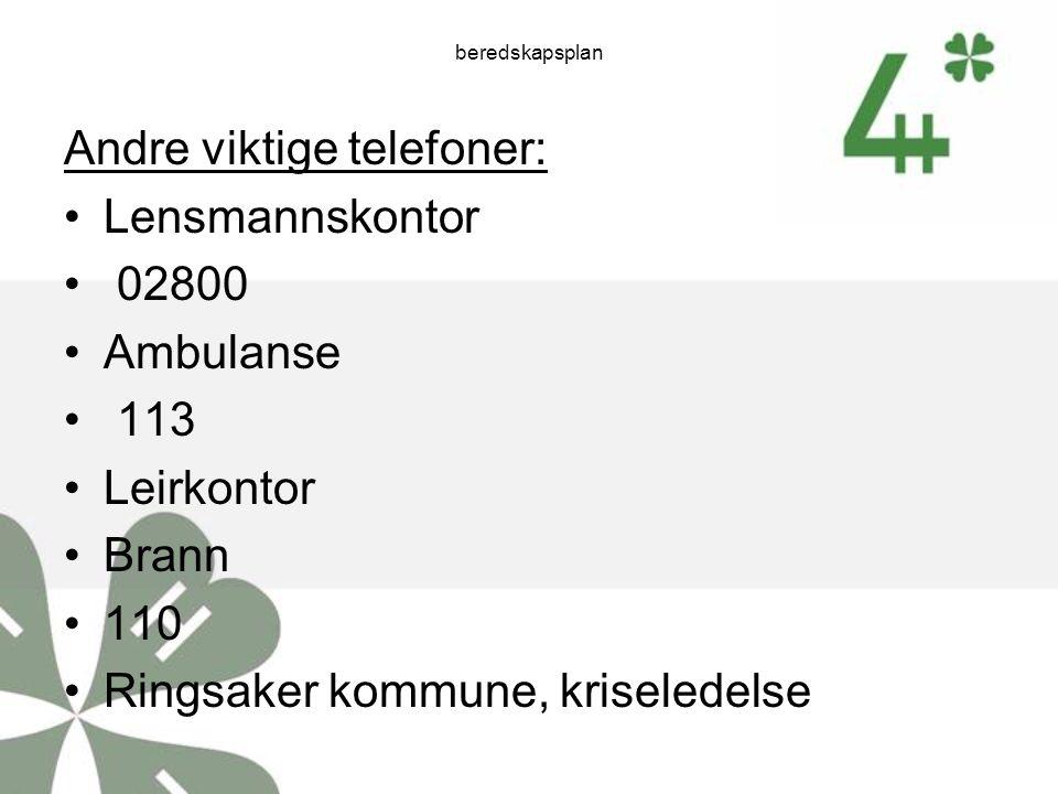 Andre viktige telefoner: Lensmannskontor 02800 Ambulanse 113