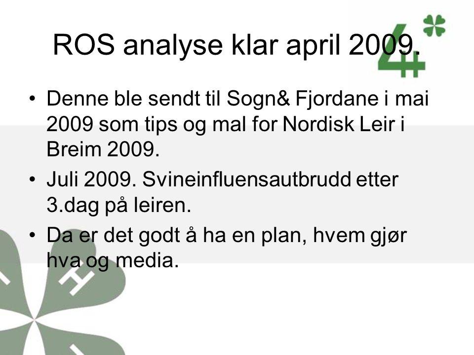 ROS analyse klar april 2009. Denne ble sendt til Sogn& Fjordane i mai 2009 som tips og mal for Nordisk Leir i Breim 2009.