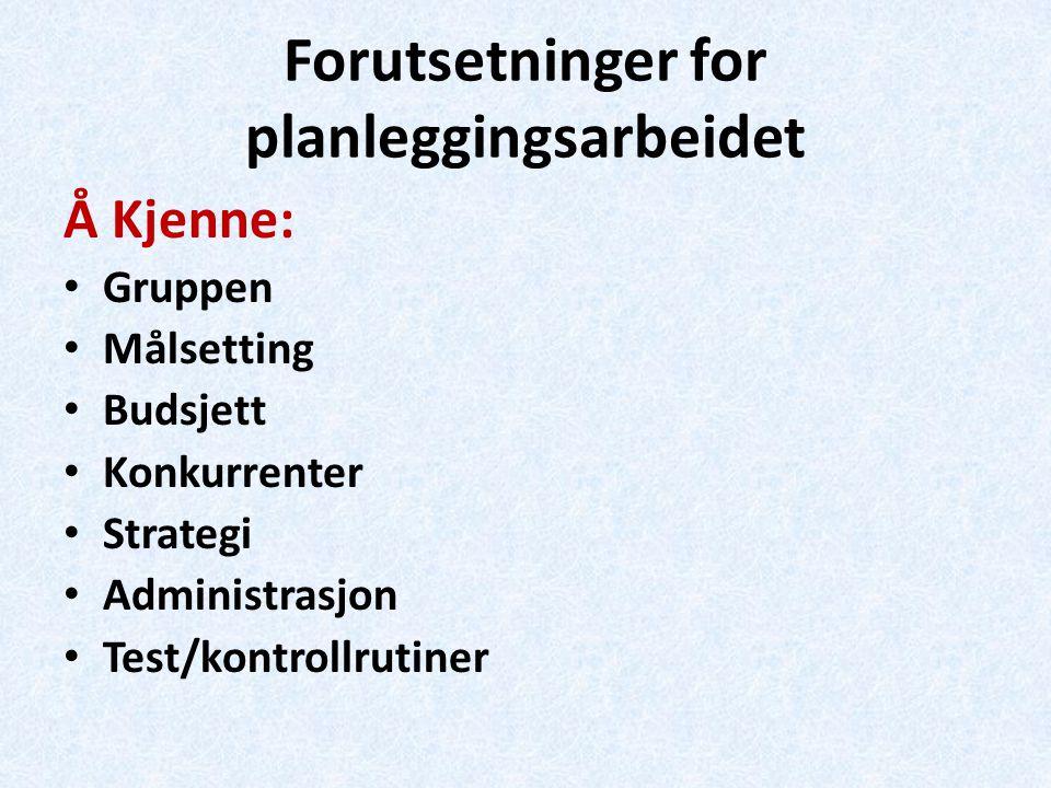 Forutsetninger for planleggingsarbeidet