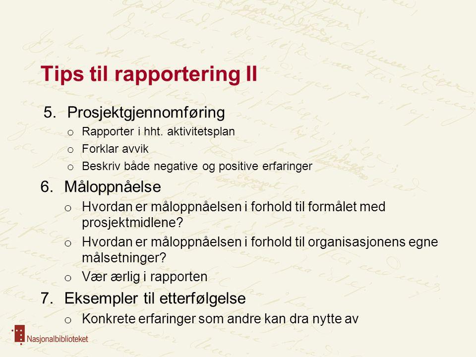 Tips til rapportering II