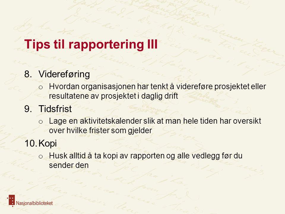 Tips til rapportering III