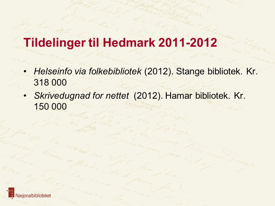 Tildelinger til Hedmark 2011-2012