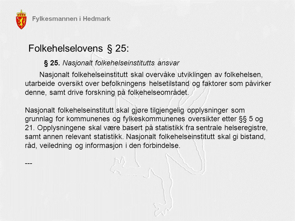 § 25. Nasjonalt folkehelseinstitutts ansvar