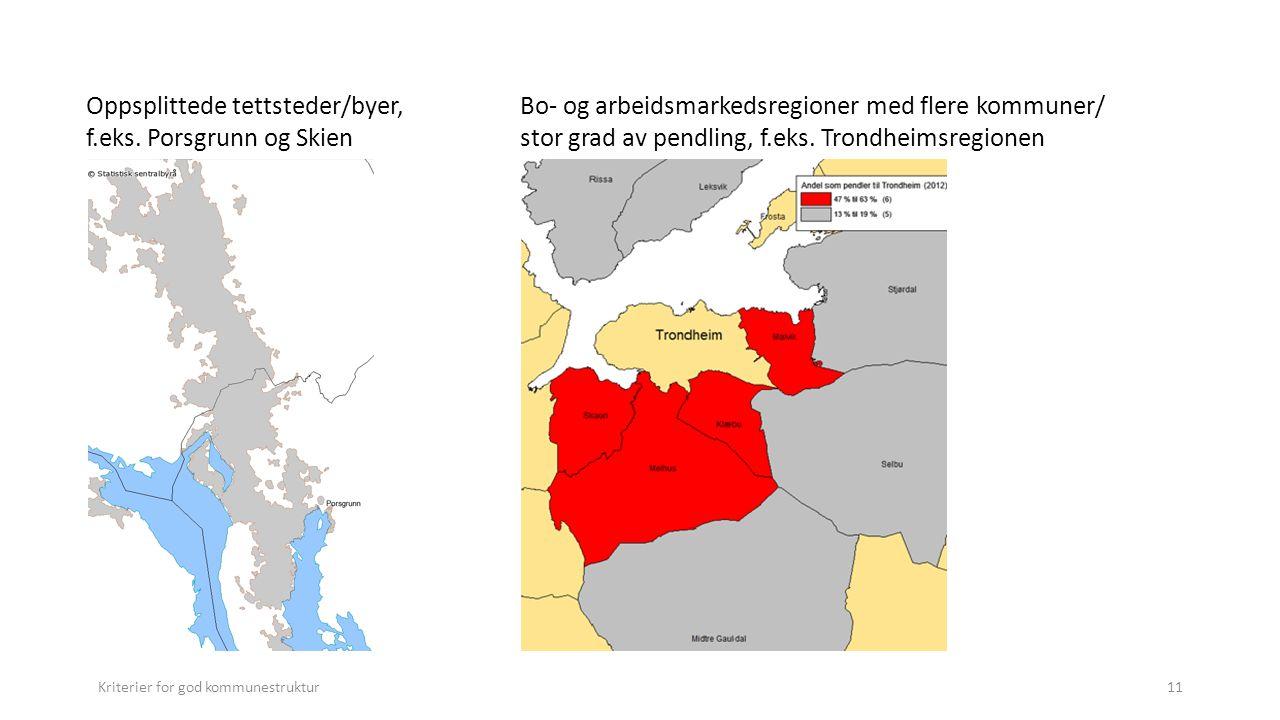 Oppsplittede tettsteder/byer, f.eks. Porsgrunn og Skien