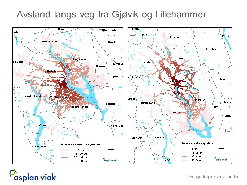 Avstand langs veg fra Gjøvik og Lillehammer