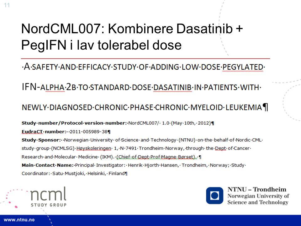 NordCML007: Kombinere Dasatinib + PegIFN i lav tolerabel dose