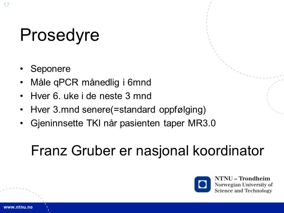 Prosedyre Franz Gruber er nasjonal koordinator Seponere