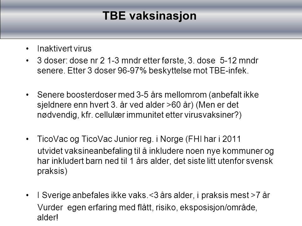 TBE vaksinasjon TBE-vaksinasjon Inaktivert virus