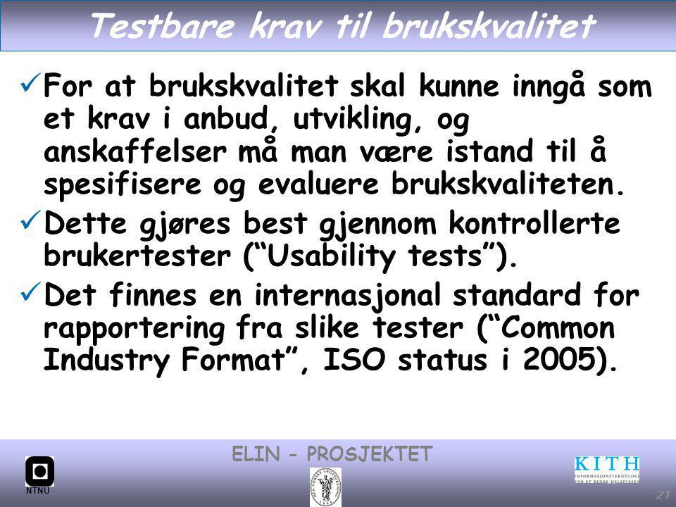 Testbare krav til brukskvalitet