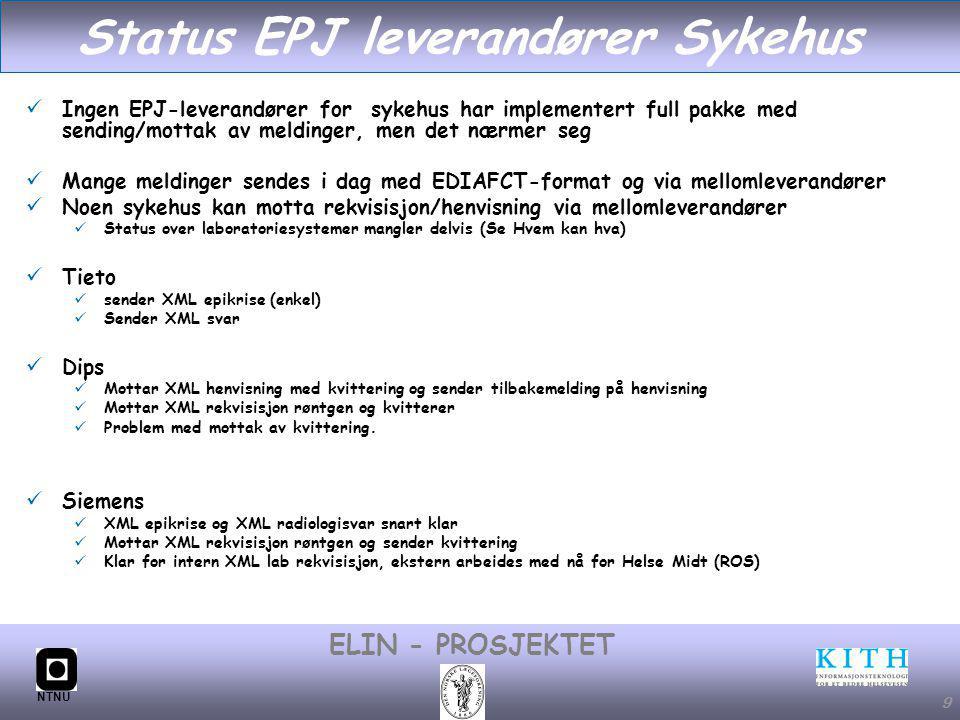 Status EPJ leverandører Sykehus