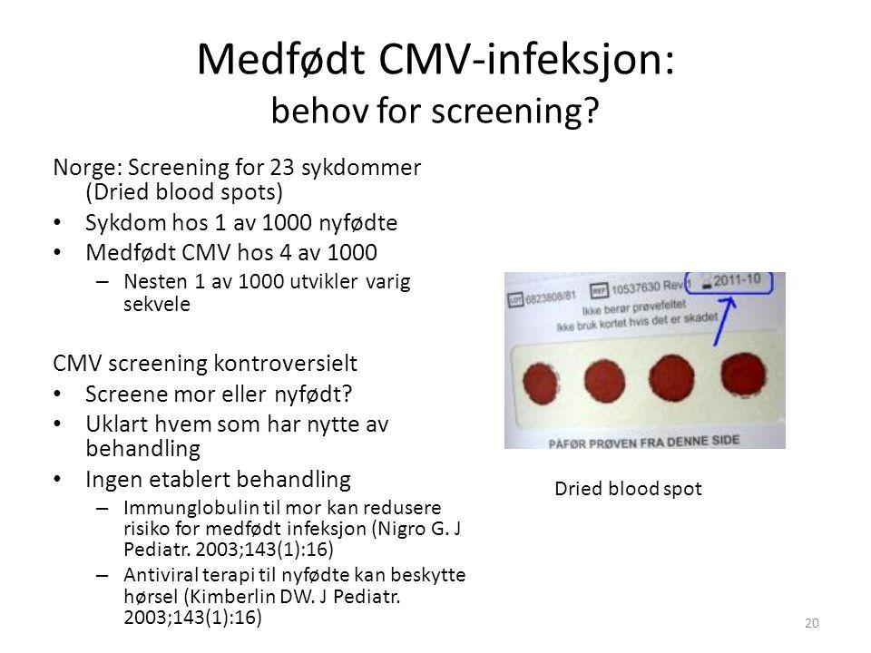 Medfødt CMV-infeksjon: behov for screening