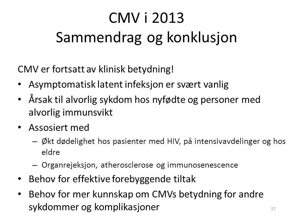 CMV i 2013 Sammendrag og konklusjon