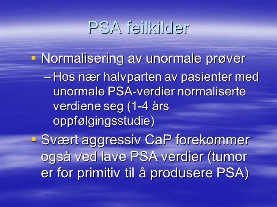 PSA feilkilder Normalisering av unormale prøver.