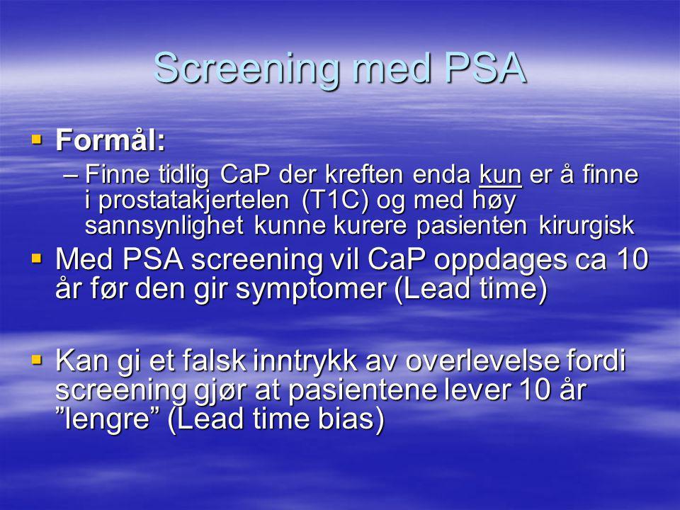 Screening med PSA Formål:
