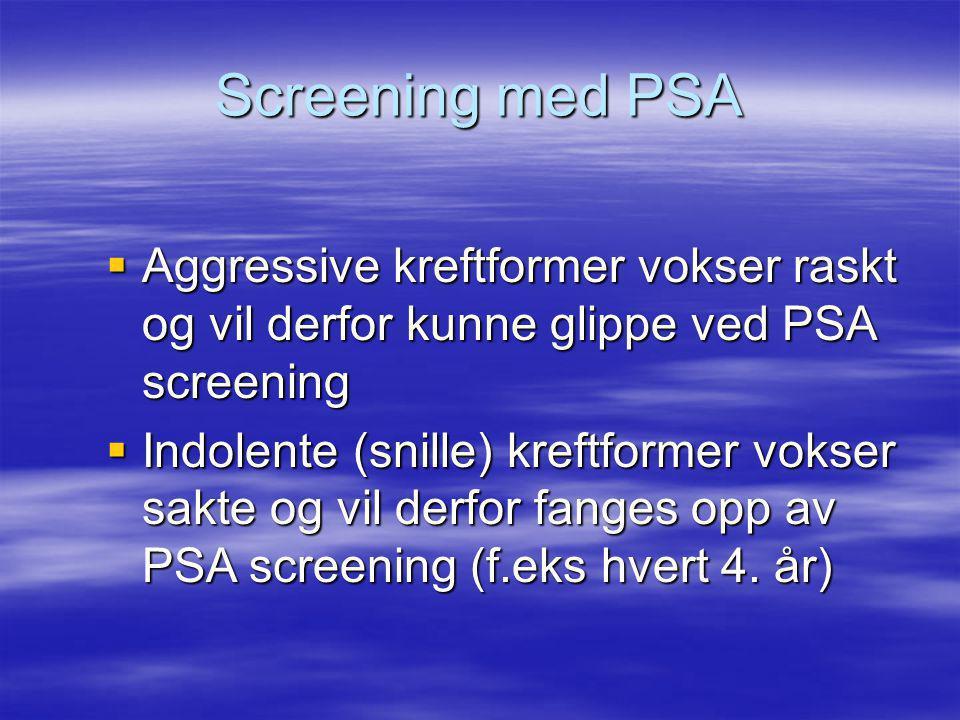 Screening med PSA Aggressive kreftformer vokser raskt og vil derfor kunne glippe ved PSA screening.