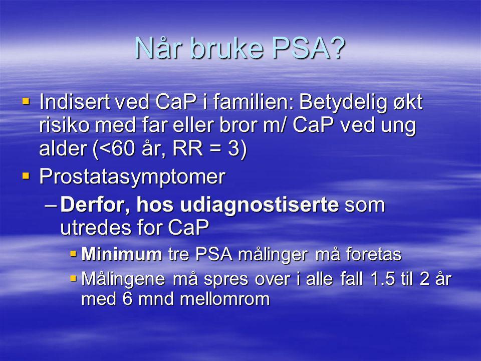 Når bruke PSA Indisert ved CaP i familien: Betydelig økt risiko med far eller bror m/ CaP ved ung alder (<60 år, RR = 3)