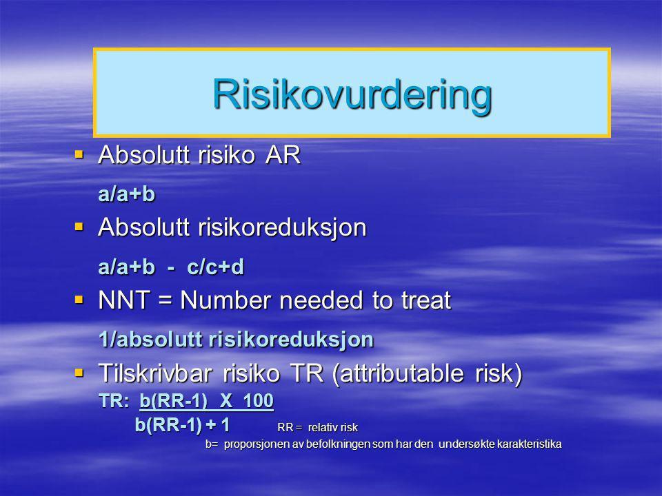 Risikovurdering a/a+b a/a+b - c/c+d 1/absolutt risikoreduksjon