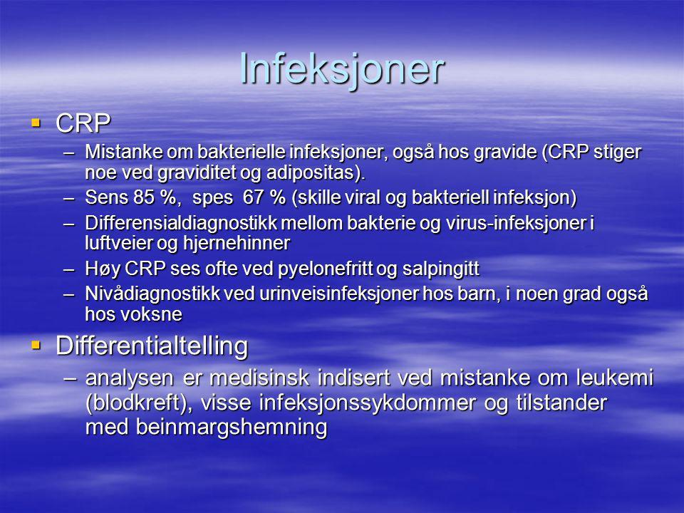 Infeksjoner CRP Differentialtelling