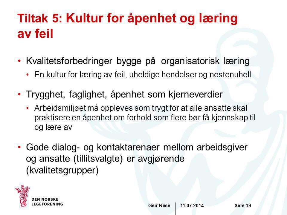 Tiltak 5: Kultur for åpenhet og læring av feil