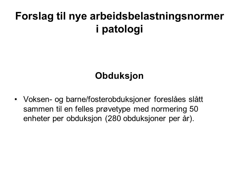Forslag til nye arbeidsbelastningsnormer i patologi