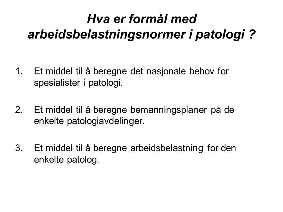 Hva er formål med arbeidsbelastningsnormer i patologi