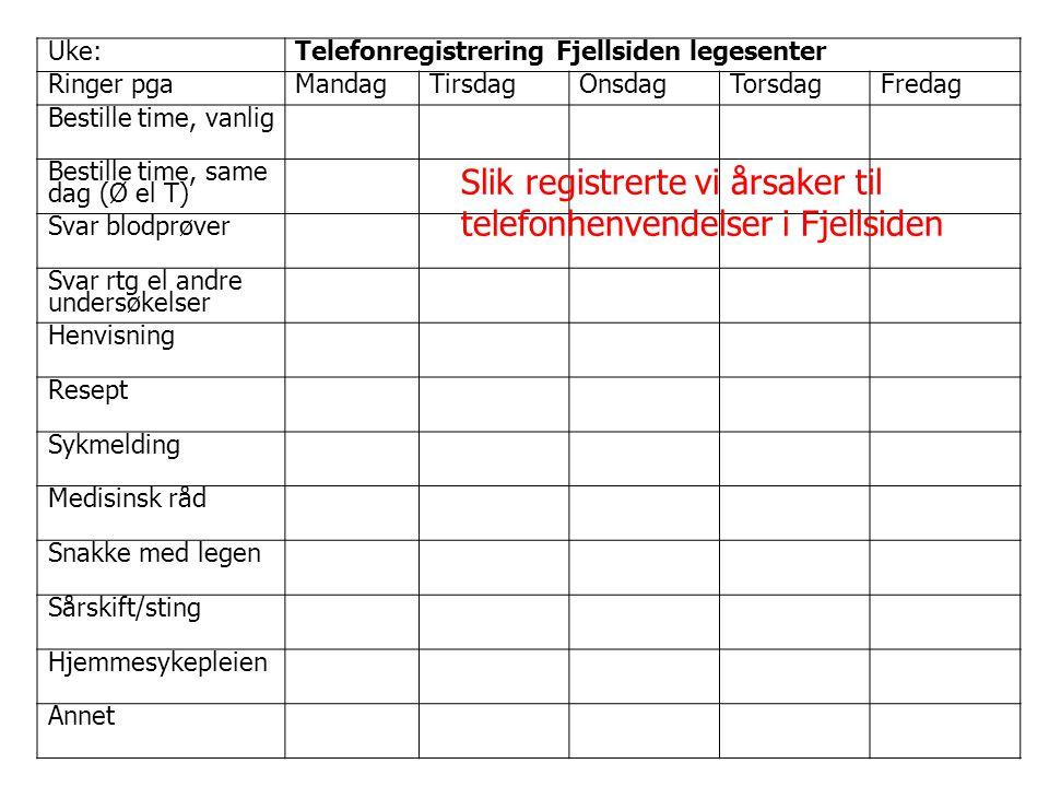 Slik registrerte vi årsaker til telefonhenvendelser i Fjellsiden