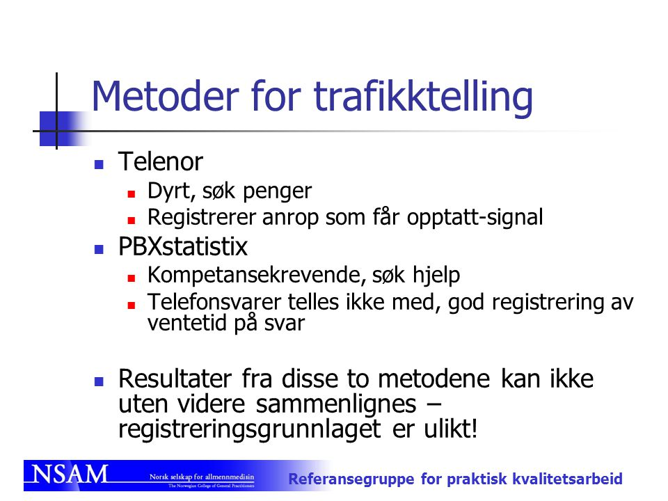 Metoder for trafikktelling