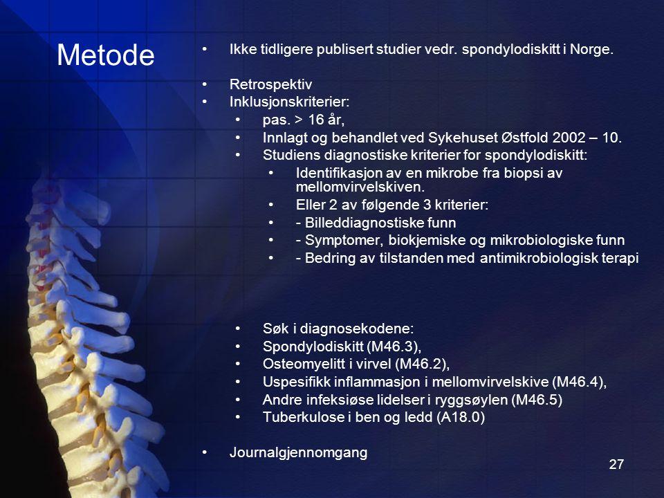 Metode Ikke tidligere publisert studier vedr. spondylodiskitt i Norge.