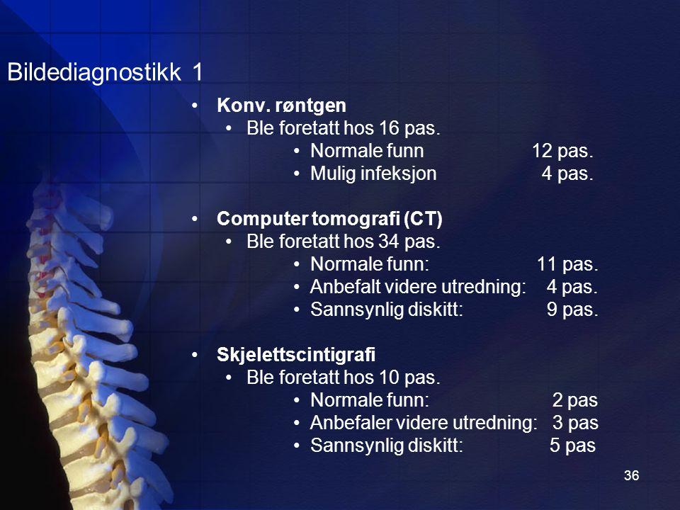 Bildediagnostikk 1 Konv. røntgen Ble foretatt hos 16 pas.