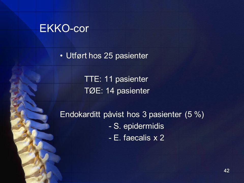 EKKO-cor Utført hos 25 pasienter TTE: 11 pasienter TØE: 14 pasienter