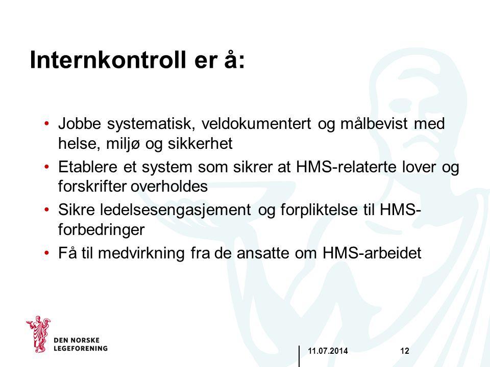 Internkontroll er å: Jobbe systematisk, veldokumentert og målbevist med helse, miljø og sikkerhet.