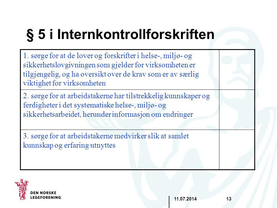 § 5 i Internkontrollforskriften