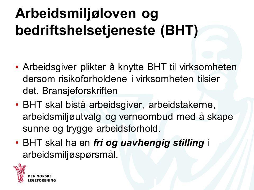 Arbeidsmiljøloven og bedriftshelsetjeneste (BHT)