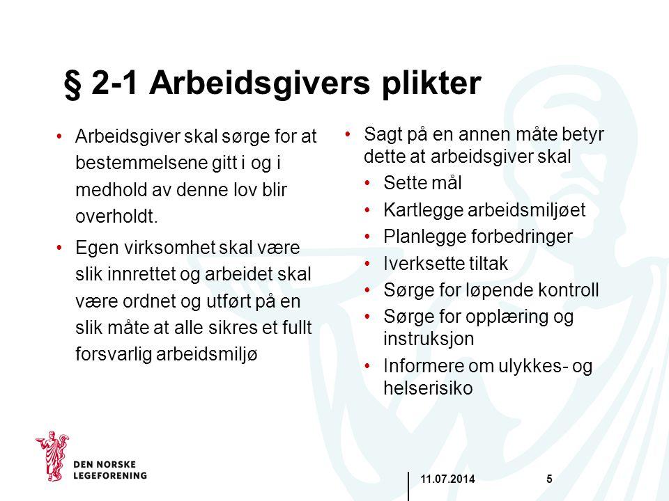 § 2-1 Arbeidsgivers plikter