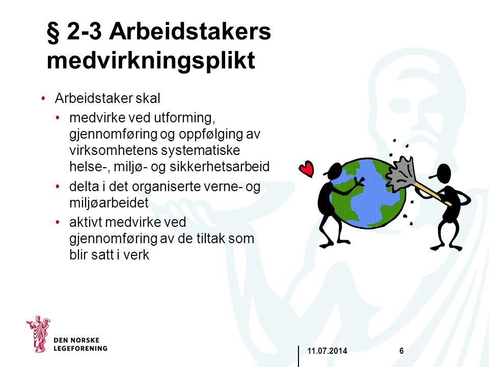 § 2-3 Arbeidstakers medvirkningsplikt