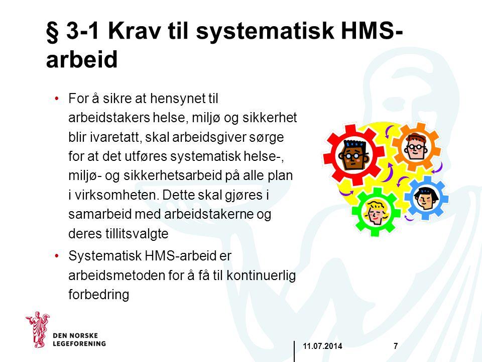 § 3-1 Krav til systematisk HMS-arbeid
