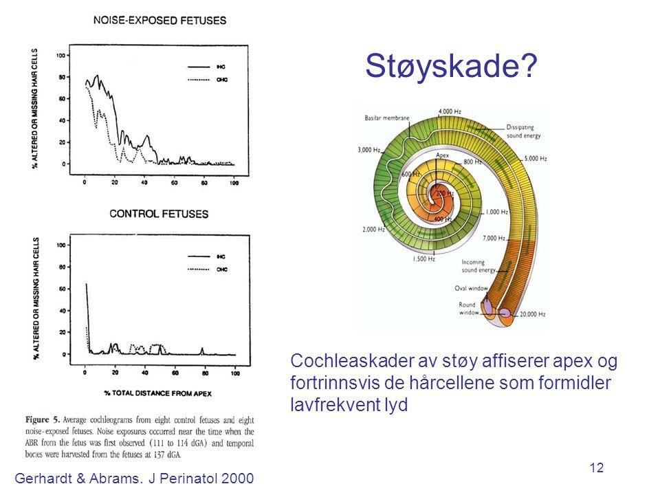 Støyskade Helt ulikt voksne. Cochleaskader av støy affiserer apex og fortrinnsvis de hårcellene som formidler lavfrekvent lyd.
