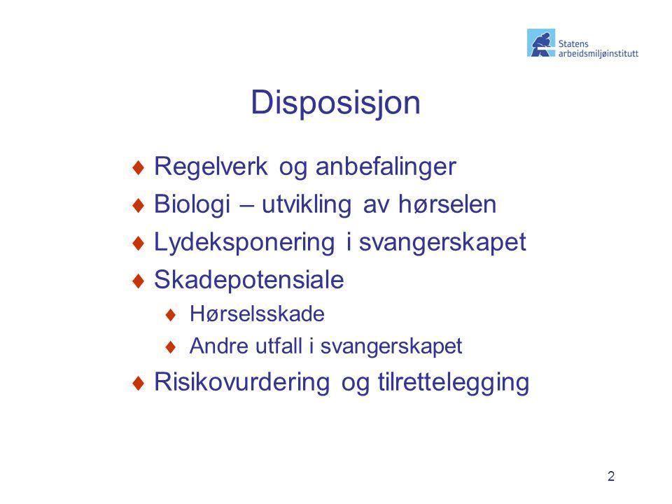 Disposisjon Regelverk og anbefalinger Biologi – utvikling av hørselen