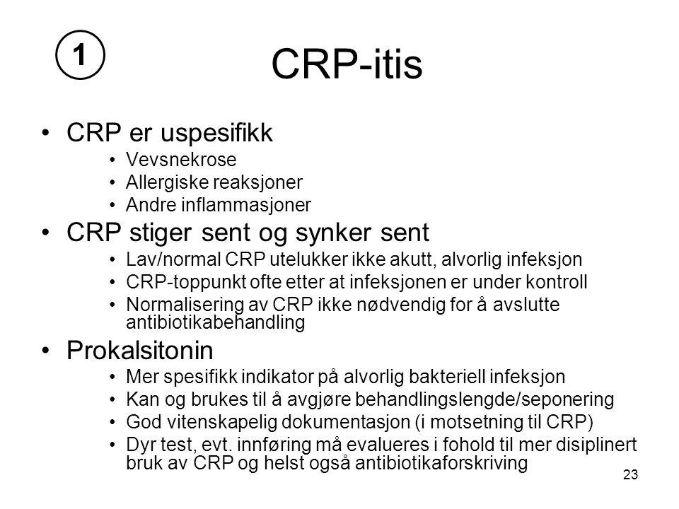 CRP-itis 1 CRP er uspesifikk CRP stiger sent og synker sent