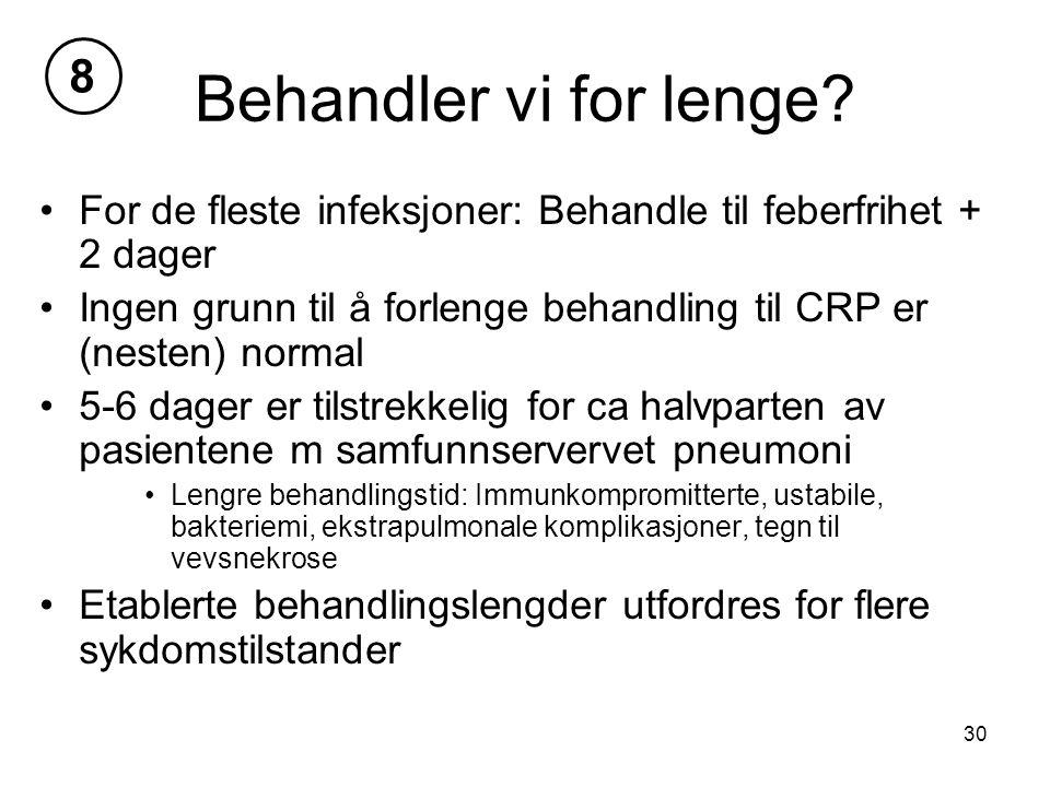 8 Behandler vi for lenge For de fleste infeksjoner: Behandle til feberfrihet + 2 dager.