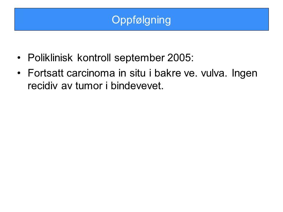 Oppfølgning Poliklinisk kontroll september 2005: