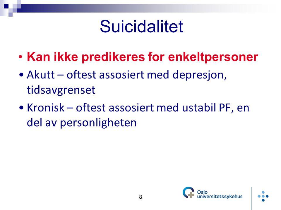Suicidalitet Kan ikke predikeres for enkeltpersoner