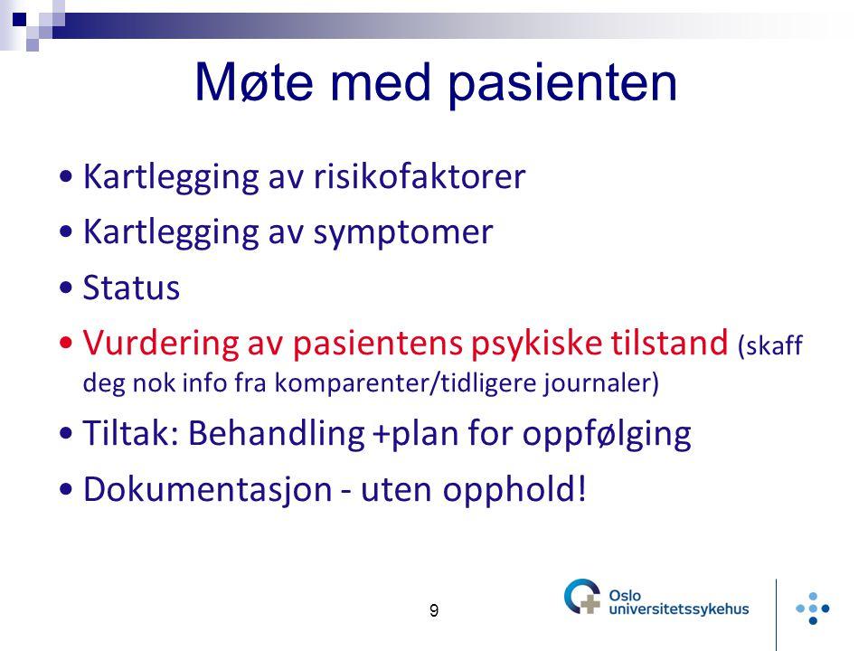 Møte med pasienten Kartlegging av risikofaktorer