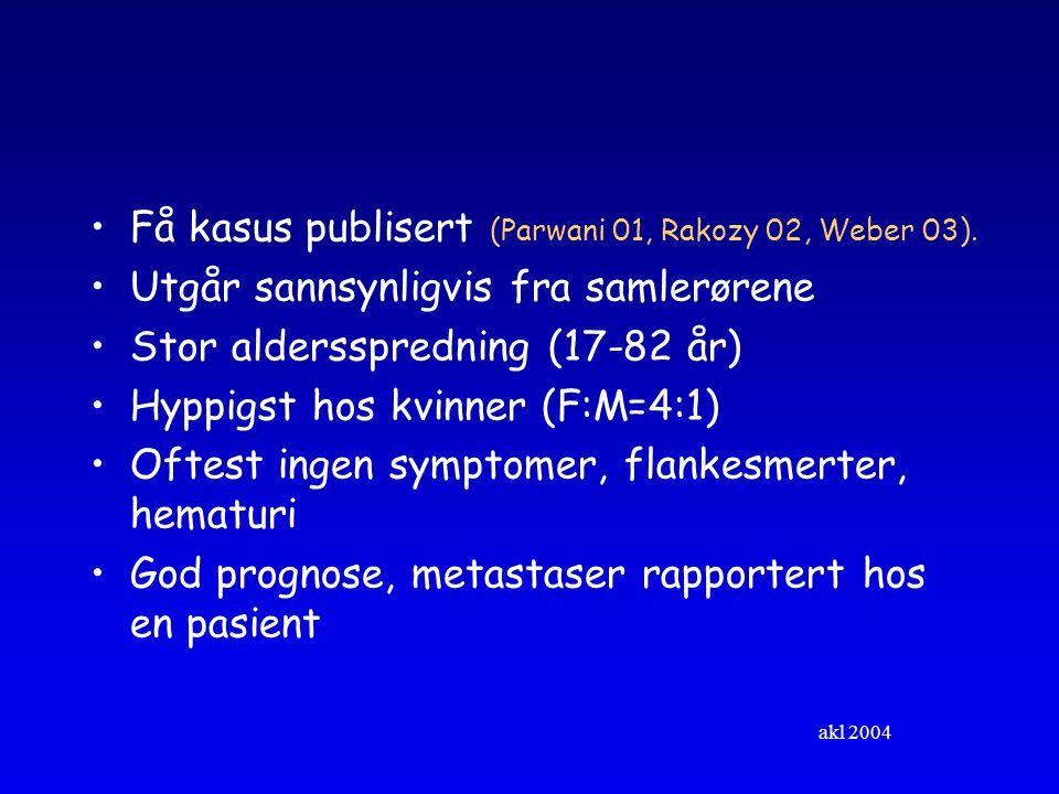 Få kasus publisert (Parwani 01, Rakozy 02, Weber 03).