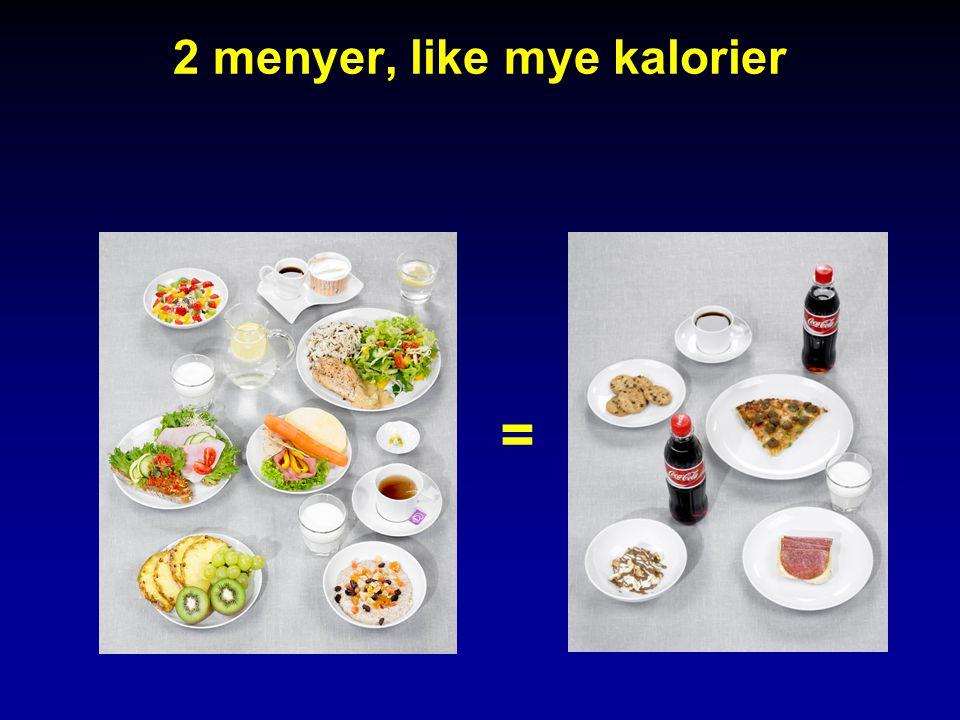 2 menyer, like mye kalorier