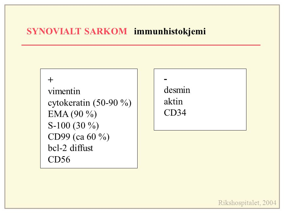 SYNOVIALT SARKOM immunhistokjemi