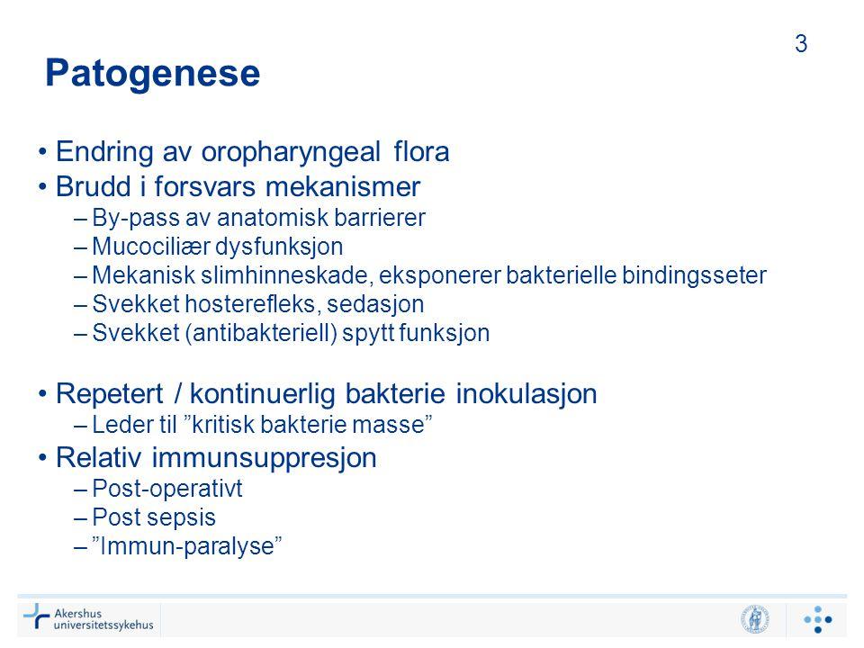 Patogenese Endring av oropharyngeal flora Brudd i forsvars mekanismer