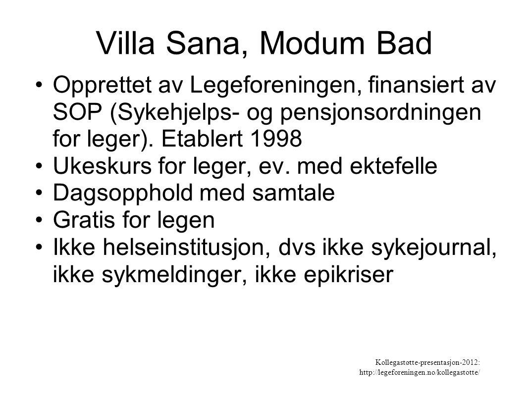 Villa Sana, Modum Bad Opprettet av Legeforeningen, finansiert av SOP (Sykehjelps- og pensjonsordningen for leger). Etablert 1998.